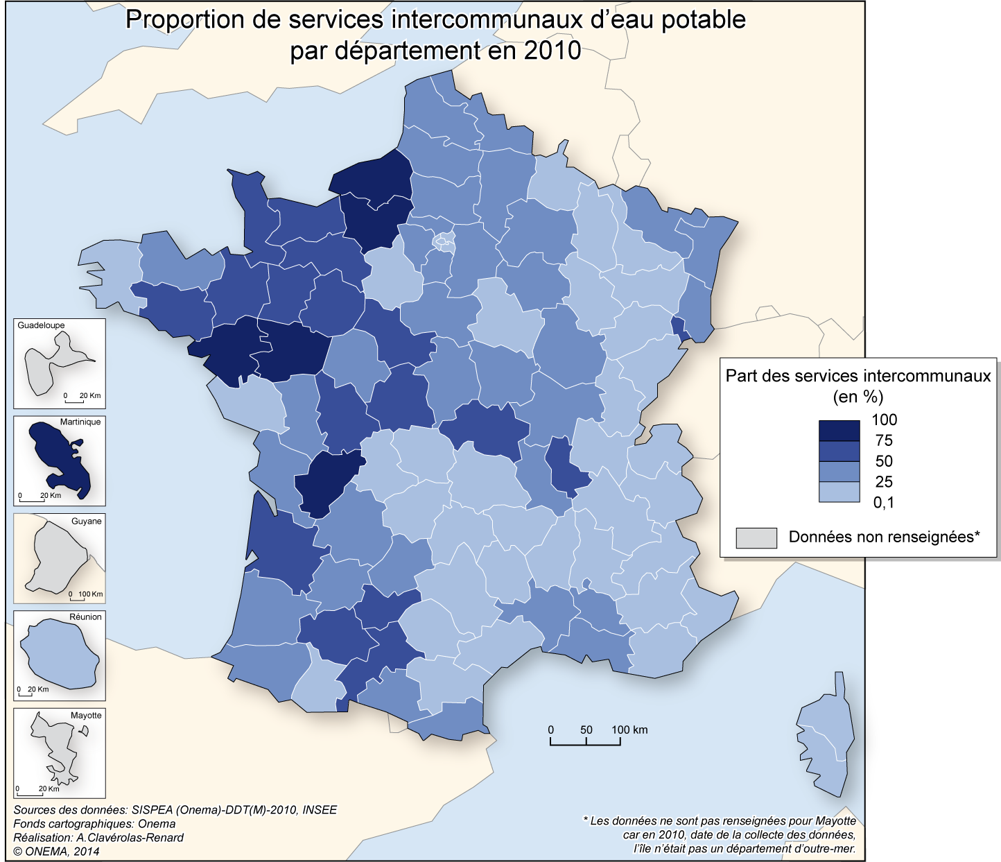 4)	Proportion de services intercommunaux d'eau potable en 2010