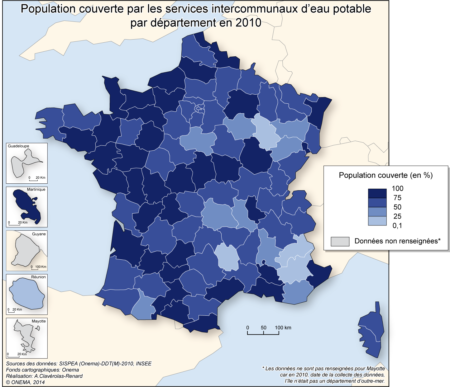 5)	Proportion de populations relevant d'un service intercommunal d'eau potable en 2010