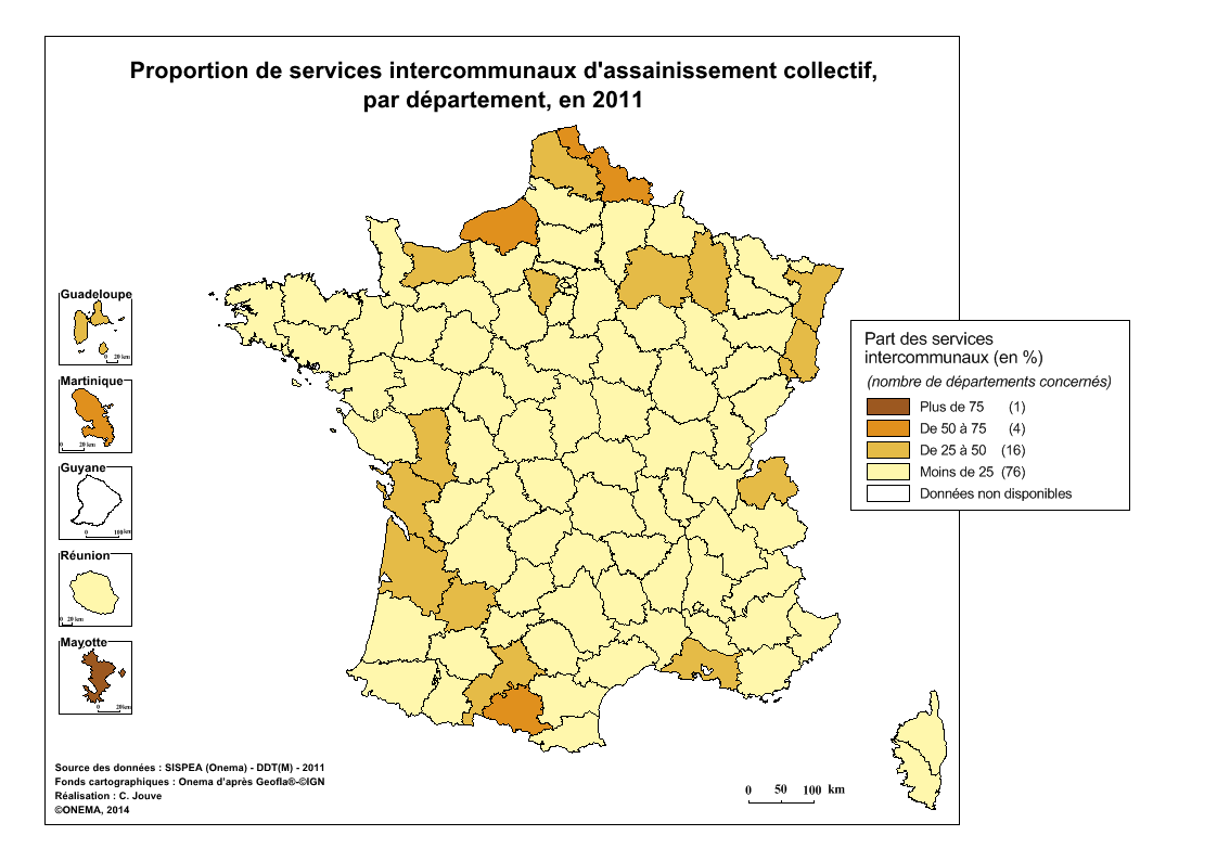 3)	Proportion de services intercommunaux d'assainissement collectif en 2011