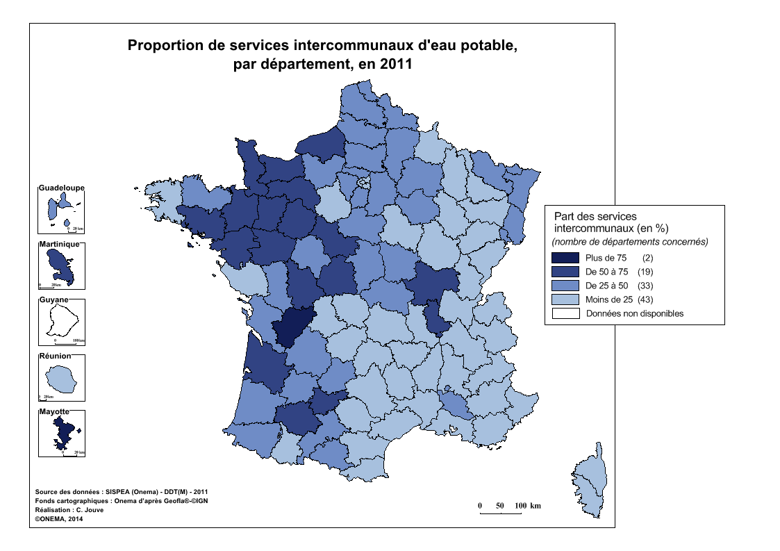 3)	Proportion de services intercommunaux d'eau potable en 2011