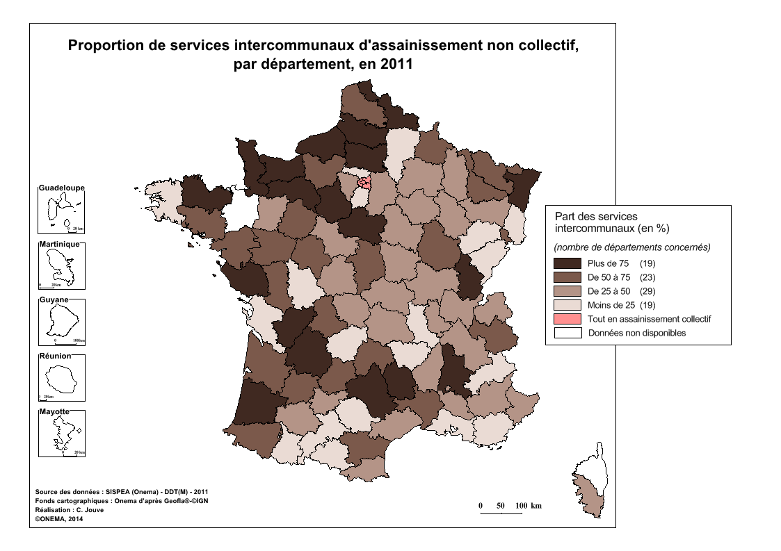 2)	Proportion de services intercommunaux d'assainissement non collectif en 2011