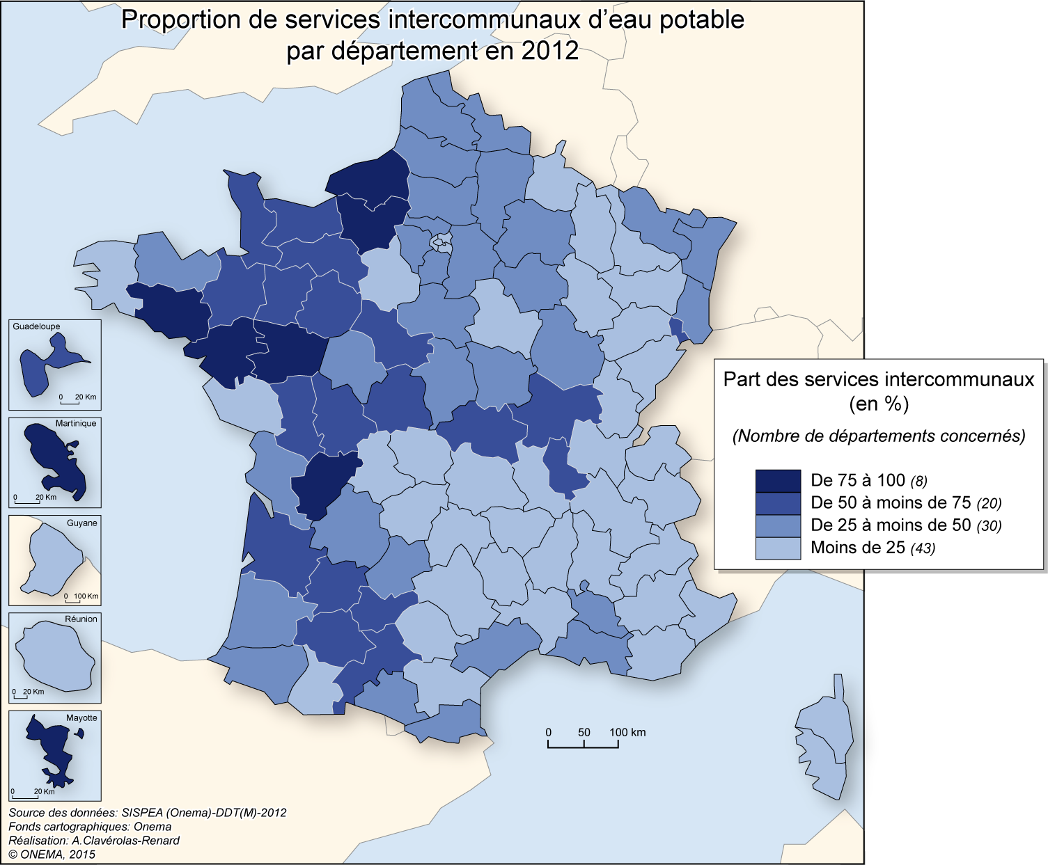 3)	Proportion de services intercommunaux d'eau potable en 2012
