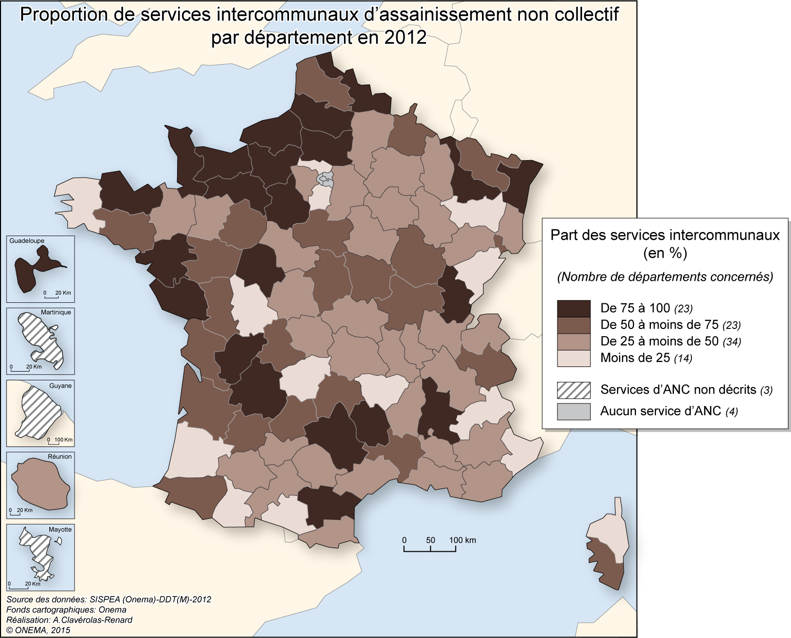 2)	Proportion de services intercommunaux d'assainissement non collectif en 2012
