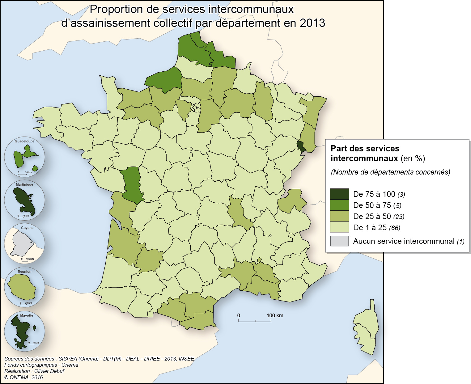 3)	Proportion de services intercommunaux d'assainissement collectif en 2013