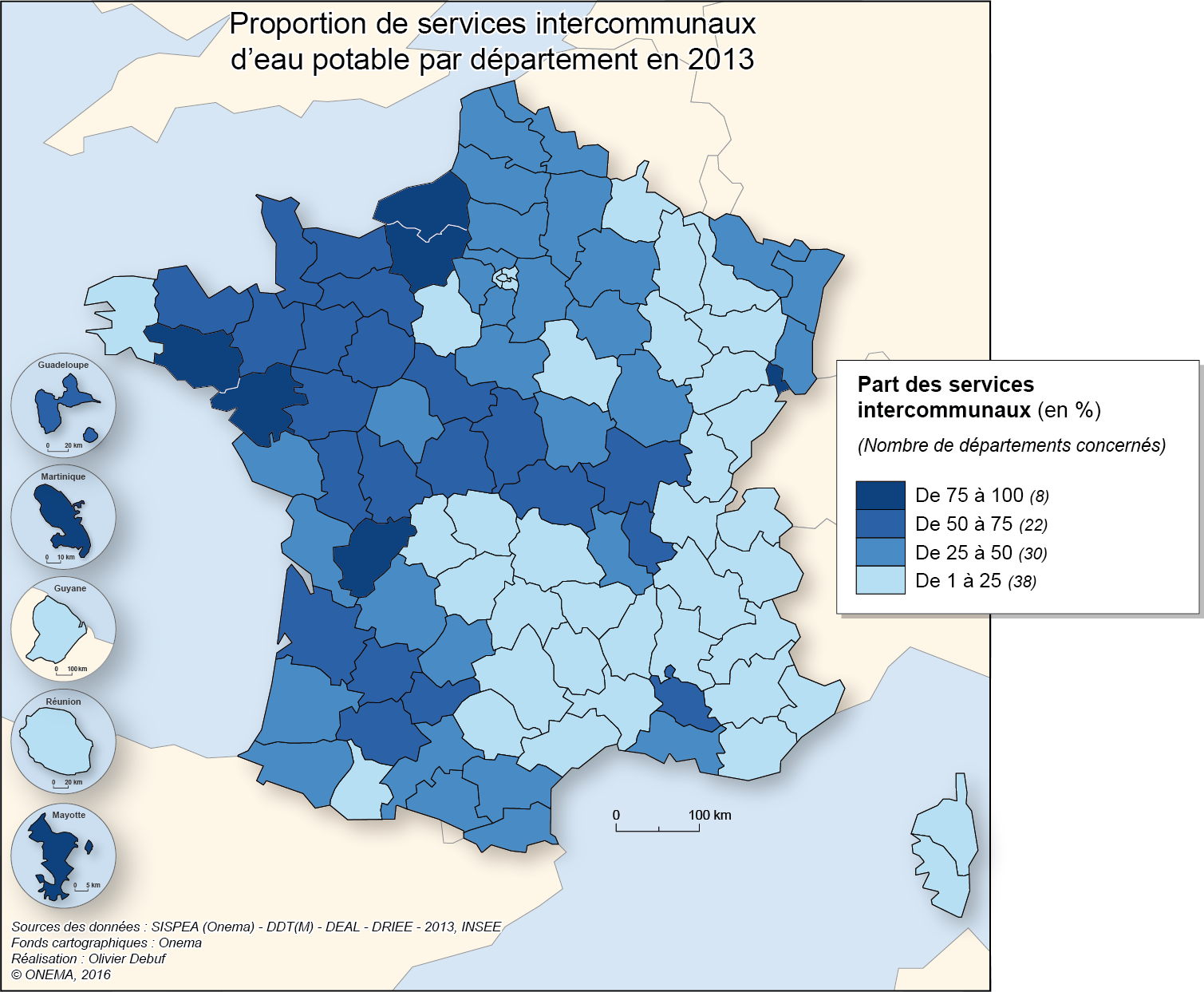 3)	Proportion de services intercommunaux d'eau potable en 2013