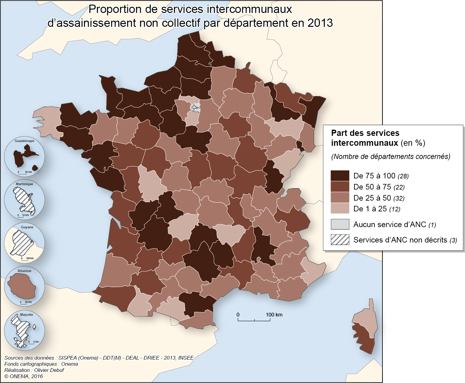 2)	Proportion de services intercommunaux d'assainissement non collectif en 2013